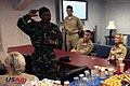 US Navy 071124-M-7696M-058 Bangladeshi Army Brig. Gen. Rashid Uzzamun Khan, a Tropical Cyclone Sidr relief planner, speaks before a committee of delegates aboard the amphibious assault ship USS Kearsarge (LHD 3) on the needs of.jpg