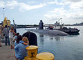 US Navy 090515-N-2218M-001 Family and friends watch as the Los Angeles-class attack submarine USS Santa Fe (SSN 763) departs Naval Station Pearl Harbor.jpg