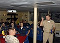 US Navy 090621-N-0924R-006 Capt. Brad Williamson, commodore, Destroyer Squadron 2, conducts surface warfare officers training during a mentoring session with junior officers aboard the amphibious dock landing ship USS Oak Hill.jpg