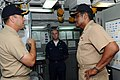 US Navy 090827-N-2259V-019 Vice Adm. D. C. Curtis, Commander, U.S. Pacific Fleet Naval Surface Forces discusses an upcoming deployment with Cmdr. Thomas C. Disy, Commanding Officer of guided missile destroyer USS Benfold (DDG 6.jpg