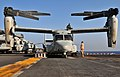 US Navy 091008-N-9740S-009 Marines assigned to Marine Medium Tiltrotor Squadron (VMM) 263 (Reinforced) conduct daily maintenance on an MV-22B Osprey aboard the multi-purpose amphibious assault ship USS Bataan (LHD 5).jpg