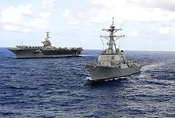 US Navy 110816-N-ZZ999-605 The USS Pickney (DDG 91), right, and the USS John C. Stennis are underway in the Pacific Ocean.jpg