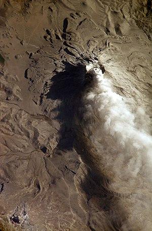 Ubinas - Image: Ubinas ash cloud ISS