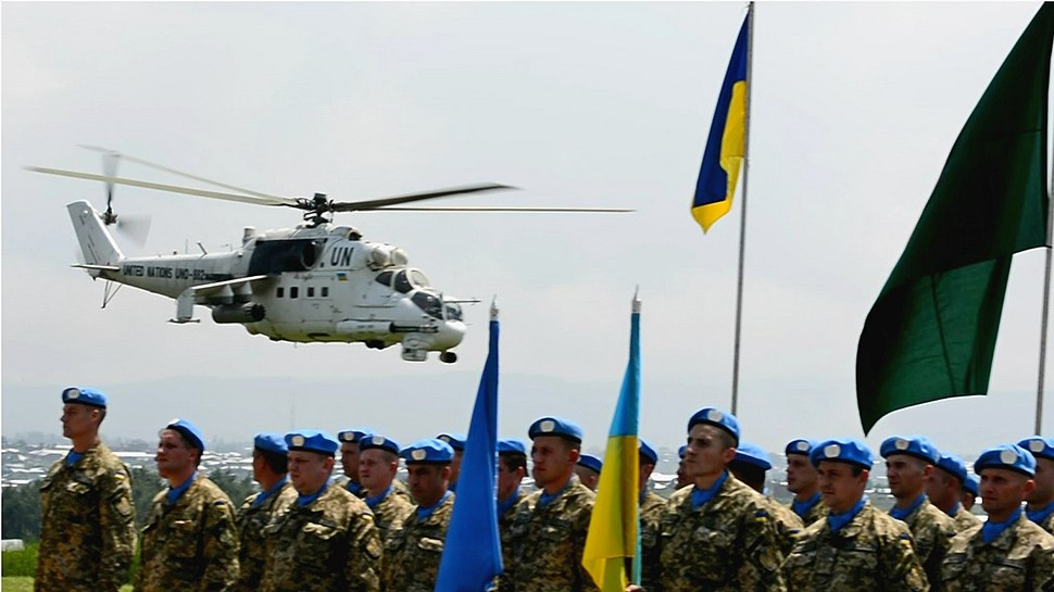 "Ukrainian national contingent in DR Congo camp ""Bunia"" awarded UN medals ""For Service to Peace"" (26952583862)"