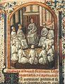 Um capítulo da Ordem trinitária. Miniatura da Regula Fratrum S.tae Trinitatis et Redemptionis Captivorum, de 1429. (Paris, Bibl. Mazarine, manuscrito 1765).jpg