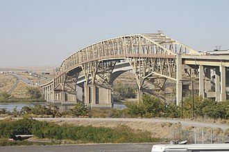 Interstate 82 - The original Umatilla Bridge, which now carries the eastbound lanes of I-82, seen from the Oregon side