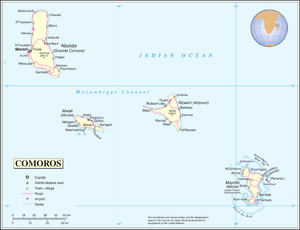 Outline of Comoros - An enlargeable map of the Union of the Comoros