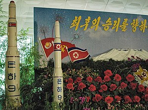 Unha - Model of a Unha-9 rocket on display at a floral exhibition in Pyongyang.