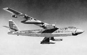 RAF Manston - USAF Boeing B-47E-50-LM, AF Ser. No. 52-3363, in flight.