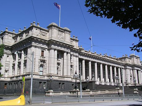 The Victorian Parliament House, built in 1856, stands in Spring Street, Melbourne. The building was intended to be finished with a dome, but was not completed due to budget constraints. VIC Parliament.jpg