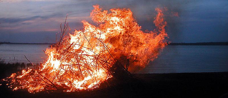 Valborgsbrasa vid Ringsjöns strand i 2004, bilden är lånat från Wikipedia Commons
