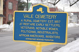Vale Cemetery and Vale Park - Image: Vale Cemetery sign, Schenectady NY
