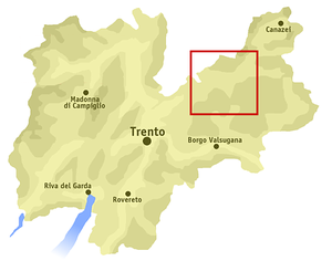 Fiemme Valley - Location of the Fiemme Valley in Trentino.