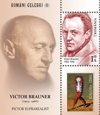 Victor Brauner - Brauner and his work on a 2018 stamp sheet