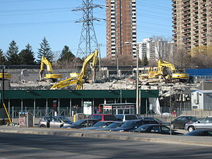 Victoria Park station (Toronto) - Demolition of old bus bays in 2009