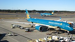 Vietnam Airlines Double Airbus A350 in Narita International Airport 2.jpg