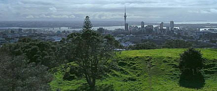 View from the top of Maungawhau / Mount Eden View of Auckland from outside city.jpg