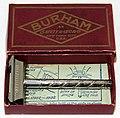 Vintage Burham Single Edge Safety Razor In Original Box With Instructions, Patent Applied For, Made In USA, Circa 1908 (41784146531).jpg