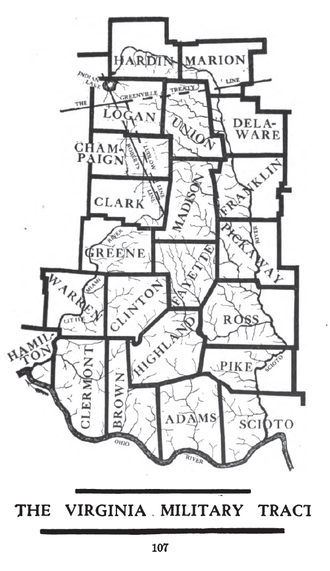 Virginia Military District - Map of the Virginia Military District with modern counties shown.