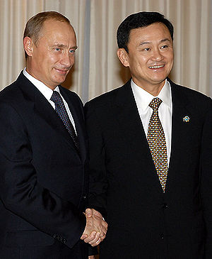 Thaksin Shinawatra - Thaksin with the President of Russia Vladimir Putin at APEC Bangkok 2003 on 21 October 2003 in Bangkok