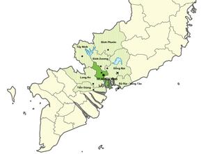 Ho Chi Minh City Metropolitan Area - Map of Ho Chi Minh City Metropolitan Area consists of 7 provinces and Ho Chi Minh City.