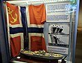 WW2 Norway NORTRASHIP Norwegian Shipping and Trade Mission merchant fleet flag Norske handelsflåte handelsflagg 1936 MS British Columbia Express model skipsmodell etc Armed Forces Museum Forsvarsmuseet Oslo 2019-03-31 01660.jpg