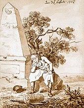 Caspar David Friedrich: Wanderer am Meilenstein, Sepiazeichnung, 1802 (Quelle: Wikimedia)