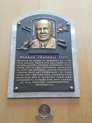 Warren Giles - Plaque of Warren Giles at the Baseball Hall of Fame
