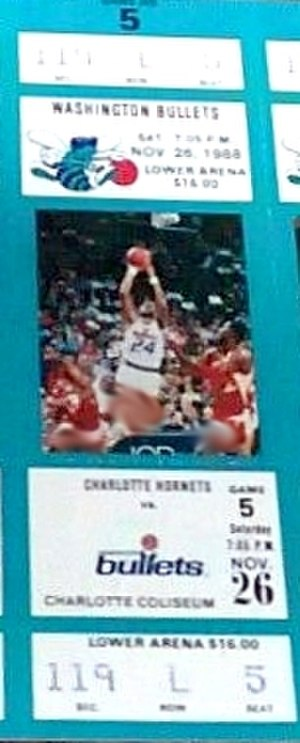 Washington Wizards - A ticket for a 1988–89 game between the Bullets and the Hornets.