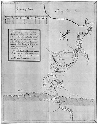 French and Indian War - Washington's map of the Ohio River and surrounding region containing notes on French intentions, 1753 or 1754