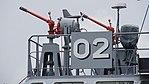 Water cannons mounted on JMSDF YT-02 at Maizuru Naval Base July 29, 2017.jpg