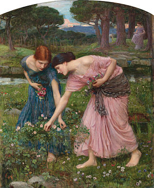 Robert Herrick (poet) - Gather Ye rosebuds While Ye May, by John William Waterhouse, (1909)