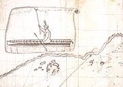 Bering's first encounter with Aleuts at Shumagin Island. Drawing by Sven Waxell, the mate of Bering's ship St. Peter.