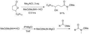 Weinreb ketone synthesis - Example of syntheses from esters and lactones