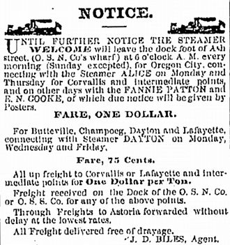 Alice (sternwheeler) - Advertisement for Willamette River steamers, including Alice, August 31, 1874.