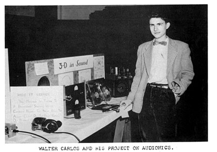 Carlos demonstrating stereo sound for a high school science project, 1958. Wendy Carlos HS Project.jpeg