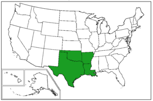 """West South Central States - A map of the United States Census Bureau Region 3, Division 7, """"West South Central"""", consisting of the states of  Arkansas, Louisiana, Oklahoma, and Texas."""