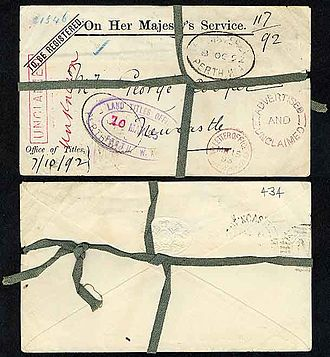 Registered mail - A Western Australia registered letter from 1892 complete with original green linen tape.