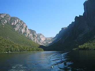 Geography of Newfoundland and Labrador - Western Brook Pond is a fjord within Gros Morne National Park which resulted from glacial erosion.