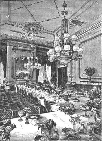 State Dining Room of the White House - State Dining Room during the Pierce administration (1853 to 1857). Note the use of the Polk chairs.