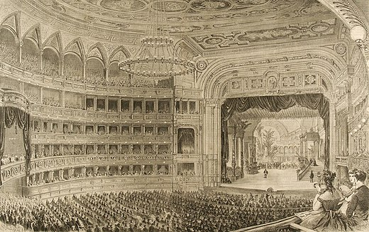 Coeval watercolour painting of the opening performance (Kunsthistorisches Museum) Wiener Hofoper 1869.jpg
