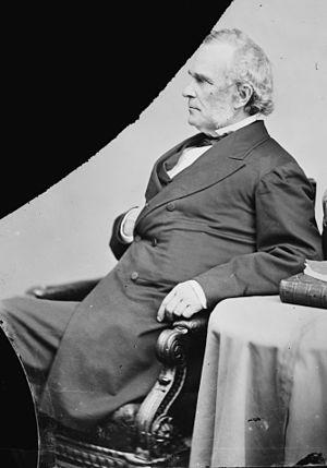 William Alfred Buckingham - Damaged negative of Brady-Handy photo of Buckingham, probably as a U.S. Senator, circa 1869.