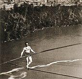 Blondin überquert die Niagara-Schlucht. (1859) (Quelle: Wikimedia)