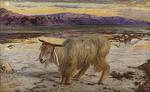 Buck passing - The Scapegoat by William Holman Hunt (1854)