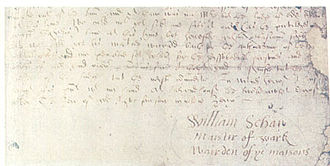 "William Schaw - Signature of William Schaw on a copy of the Second Statutes, as ""maister of wark"" and ""wairden of the maisons"", Holyroodhouse, 28 December 1599"