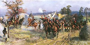 Second Partition of Poland - Scene after the battle of Zieleńce 1792, Polish withdrawal; painting by Wojciech Kossak