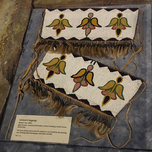 Woman's leggings, Kainai, late 1800s, glass beads, commercial leather, cotton backing, metal cones, horse hair - Glenbow Museum - DSC00978