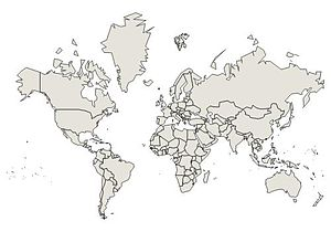 English: world map with Mercator projection
