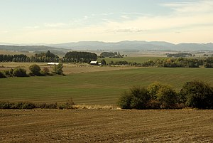 Hector Macpherson Jr. - View of a rural section the Willamette Valley in Oregon's Polk County. Rapid population growth and haphazard county development regulations placed prime farmland in danger of destruction prior to the institution of statewide land-use planning in 1973.