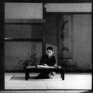 Yasunari Kawabata - Kawabata at work at his house in Hase, Kamakura (1946)